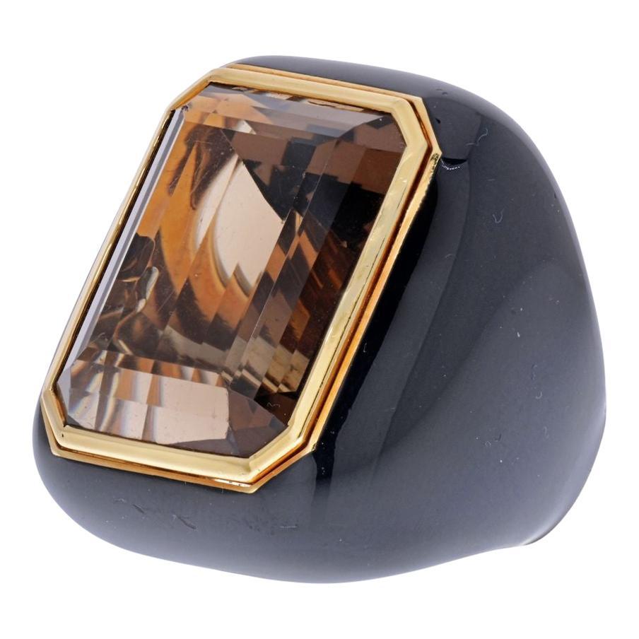 David Webb 18K Yellow Gold Smoky Quartz and Black Enamel Ring