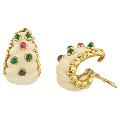 David Webb 18 Karat Yellow Gold White Coral Sapphire Ruby, Emerald Earrings