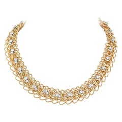 David Webb 18k Yellow Gold Woven Twisted Diamond Necklace