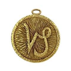David Webb 18 Karat Yellow Gold Zodiac Pendant Brooch for Capricorn