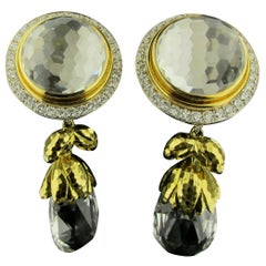 David Webb 18 Karat Yellow Gold, Rock Crystal and Diamond Earrings