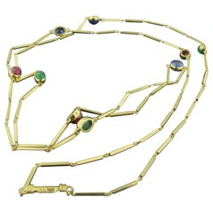 David Webb 18 Karat Yellow Gold Ruby, Sapphire and Emerald Cabochon Necklace