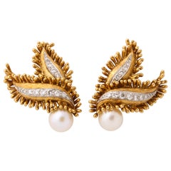 David Webb 1960s Diamond Pearl Gold Fringed Ear Clips