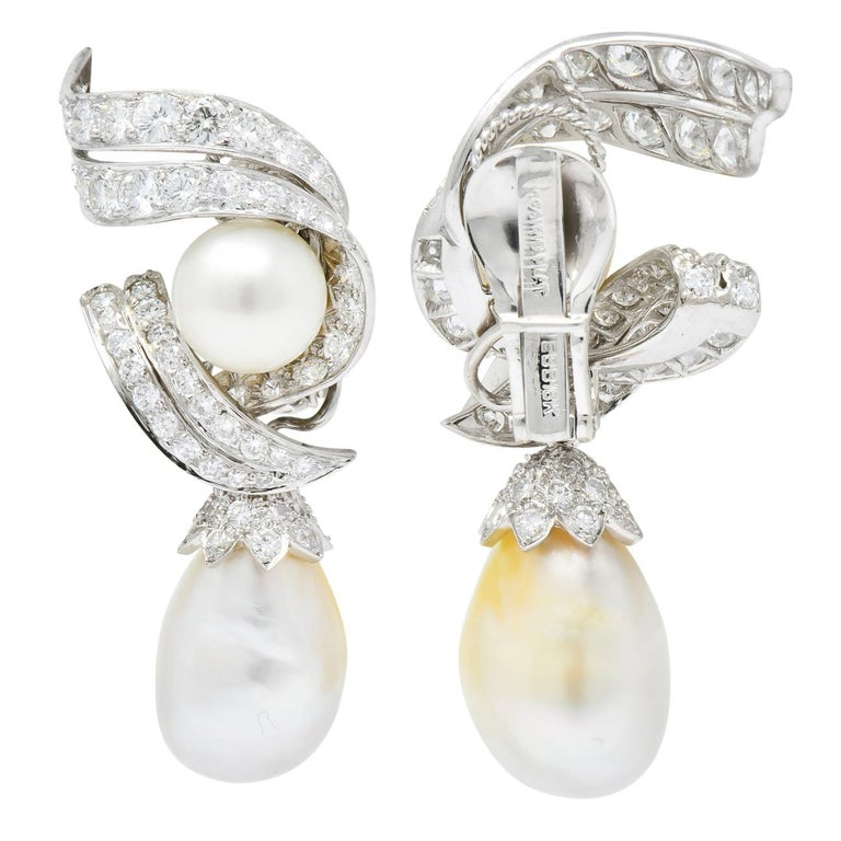 David Webb 1960s Diamond Pearl Platinum and 18 Karat Gold Day Night Earrings For Sale 5