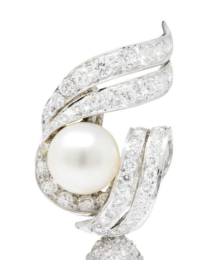 David Webb 1960s Diamond Pearl Platinum and 18 Karat Gold Day Night Earrings For Sale 1