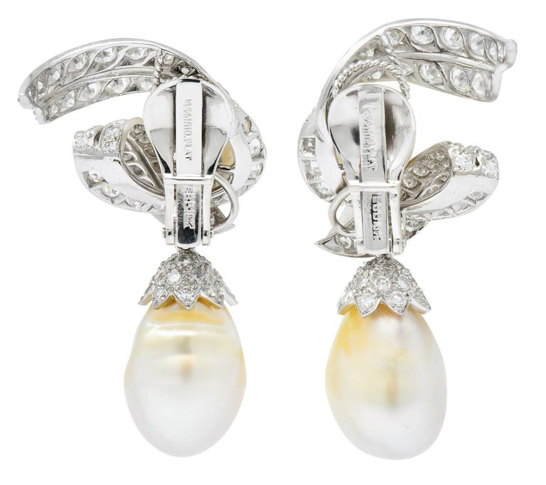 David Webb 1960s Diamond Pearl Platinum and 18 Karat Gold Day Night Earrings For Sale 4