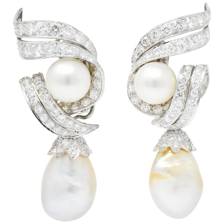 David Webb 1960s Diamond Pearl Platinum and 18 Karat Gold Day Night Earrings For Sale