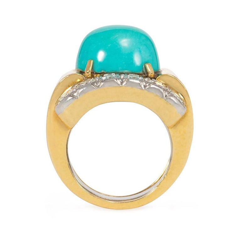 David Webb 1960s Gold, Diamond, and Turquoise Cocktail Ring In Good Condition For Sale In New York, NY
