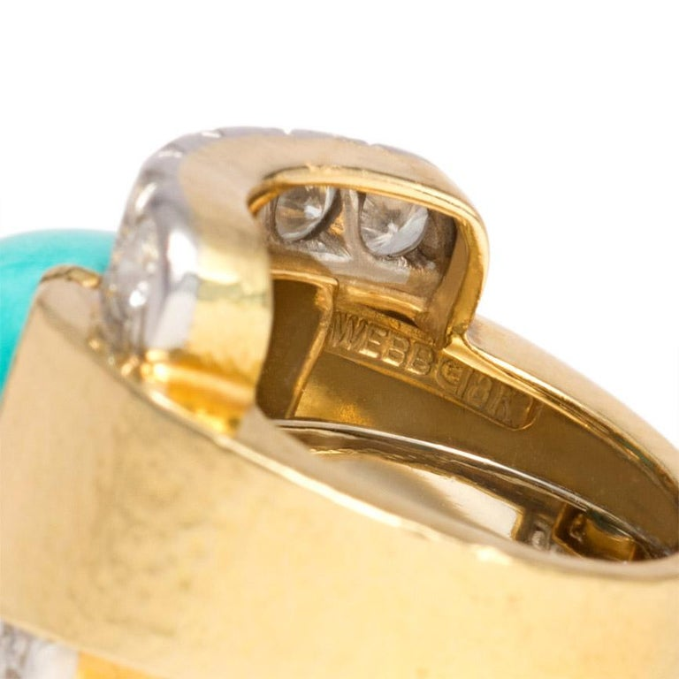 Women's or Men's David Webb 1960s Gold, Diamond, and Turquoise Cocktail Ring For Sale