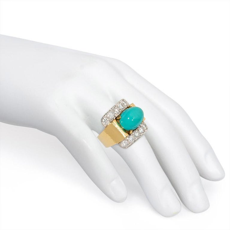 David Webb 1960s Gold, Diamond, and Turquoise Cocktail Ring For Sale 1