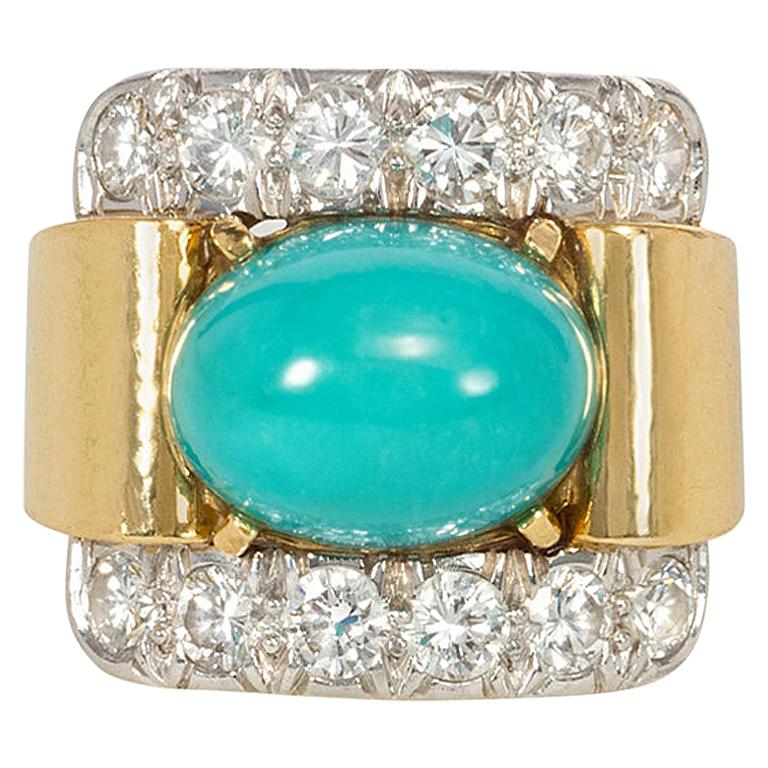 David Webb 1960s Gold, Diamond, and Turquoise Cocktail Ring For Sale