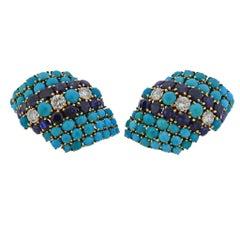 David Webb 1960s Gold Turquoise Diamond Sapphire Gold Earrings