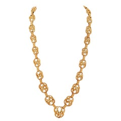 David Webb 1970s 18 Karat Yellow Gold Heavy Criss Cross Link Necklace