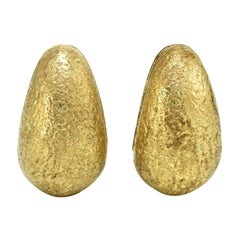David Webb 1970's 18k Yellow Gold Brushed Finish Earrings
