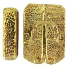 David Webb 1970s Zodiac Gold Belt Buckle