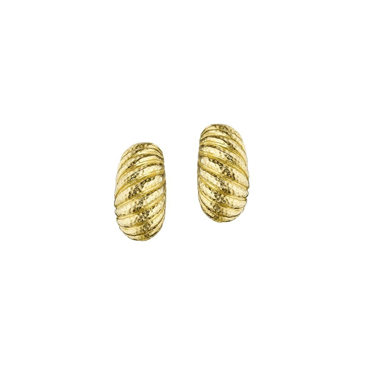 David Webb Hammered Gold Half Hoop Earrings