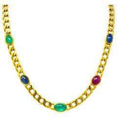 David Webb 20.00 Carat Ruby Sapphire Emerald 18 Karat Gold Curb Necklace
