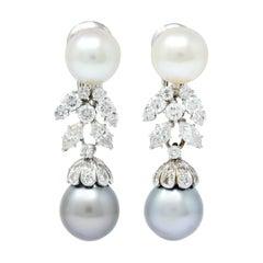 David Webb 2.40 Carat Diamond Cultured Pearl Drop Ear-Clip Earrings