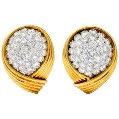 David Webb 3.50 Carat Pave Diamond 18 Karat Gold Platinum Ear-Clip Earrings
