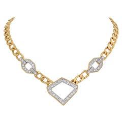 David Webb 4 Carat Diamond Stations Link Gold Necklace