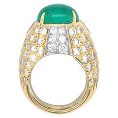David Webb 4.5 Carat Cabochon Emerald and Diamond Ring in Gold and Platinum