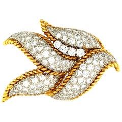"David Webb 5 Carat Pave Diamond ""Leaf"" Brooch in Platinum and Gold"