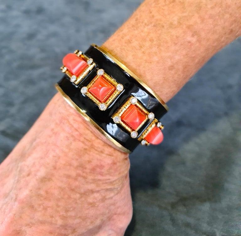 Sugarloaf Cabochon David Webb 5-Stone Coral Diamond Enamel 'Bastille' Cuff Bangle For Sale