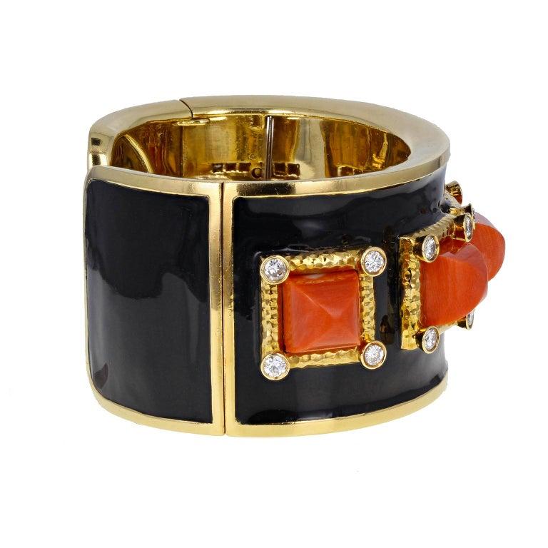 David Webb 5-Stone Coral Diamond Enamel 'Bastille' Cuff Bangle For Sale 2