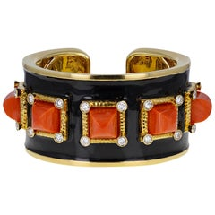 David Webb 5-Stone Coral Diamond Enamel 'Bastille' Cuff Bangle