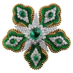 David Webb 5.85 Carat Emerald Floral Brooch GIA Certified