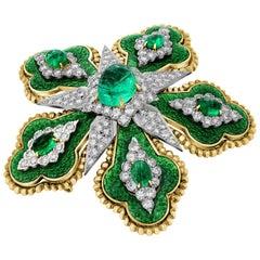 David Webb 5.85 Carat Emerald Floral Brooch