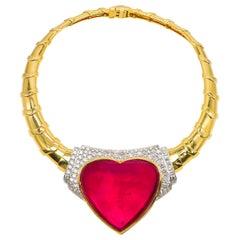 David Webb 80 Carat Rubellite Tourmaline Necklace with Diamonds 5.26 Carat 18K