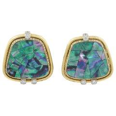 David Webb Abalone Shells, Diamond Earrings