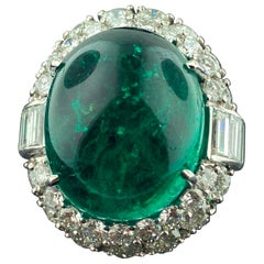 David Webb AGI Certified 41.69 Carat Emerald Ring in Plat with 17.93 Ct Diamonds