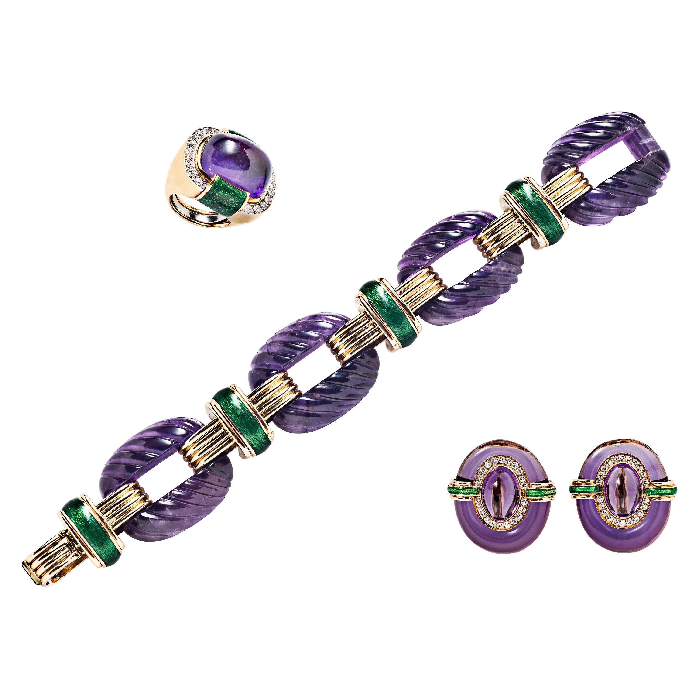 David Webb Amethyst and Diamond Green Enamel Bracelet, Earrings, Ring Suite