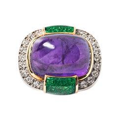 David Webb Amethyst, Diamond, Green Enamel and 18k Yellow Gold Ring