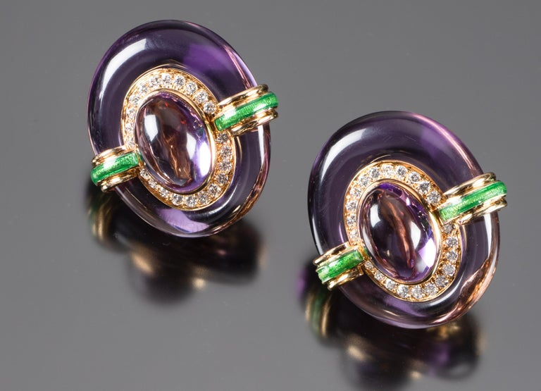Famous for his bold use of color and his extraordinary statement jewels, David Webb also made beautiful pieces for everyday wear. As one of approximately six in existence, this rare amethyst, diamond and enamel suite is chic and easy wearing. The