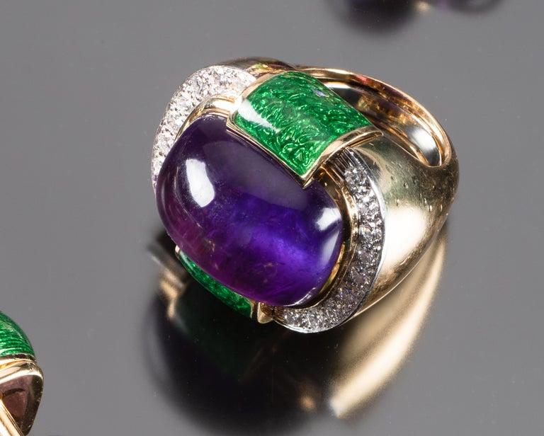 David Webb Amethyst Diamond  Green Enamel Bracelet Earrings Ring Suite In Good Condition For Sale In Boston, MA
