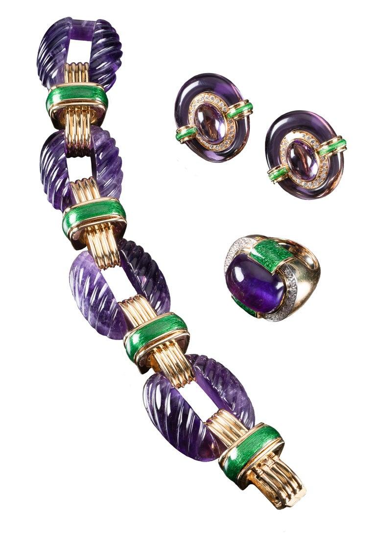Women's or Men's David Webb Amethyst Diamond  Green Enamel Bracelet Earrings Ring Suite For Sale