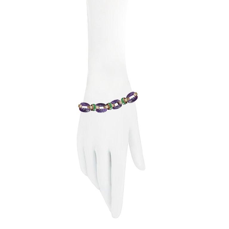 David Webb Amethyst Diamond  Green Enamel Bracelet Earrings Ring Suite For Sale 1