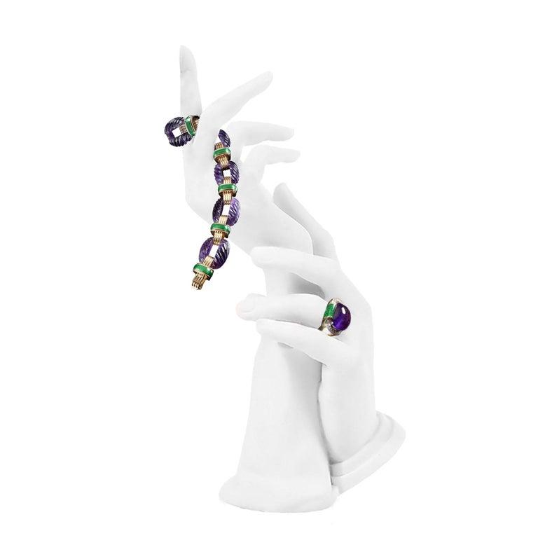 David Webb Amethyst Diamond  Green Enamel Bracelet Earrings Ring Suite For Sale 3