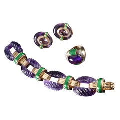 David Webb Amethyst Diamond  Green Enamel Bracelet Earrings Ring Suite