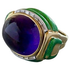 David Webb Amethyst Enamel Diamond Ring