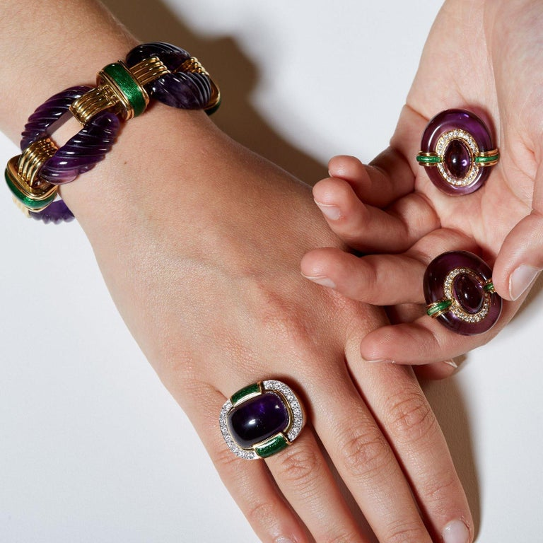 David Webb Amethyst, Green Enamel and 18k Yellow Gold Bracelet In Excellent Condition For Sale In Boston, MA