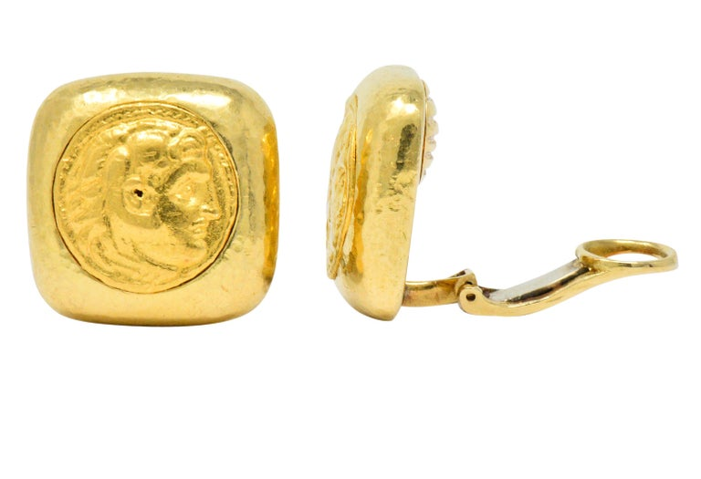 Contemporary David Webb Ancient Coin 18 Karat Gold Ear-Clips Earrings For Sale