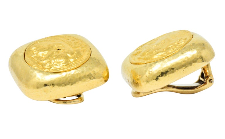 David Webb Ancient Coin 18 Karat Gold Ear-Clips Earrings For Sale 1