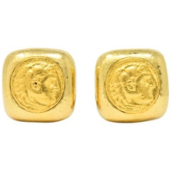 David Webb Ancient Coin 18 Karat Gold Ear-Clips Earrings