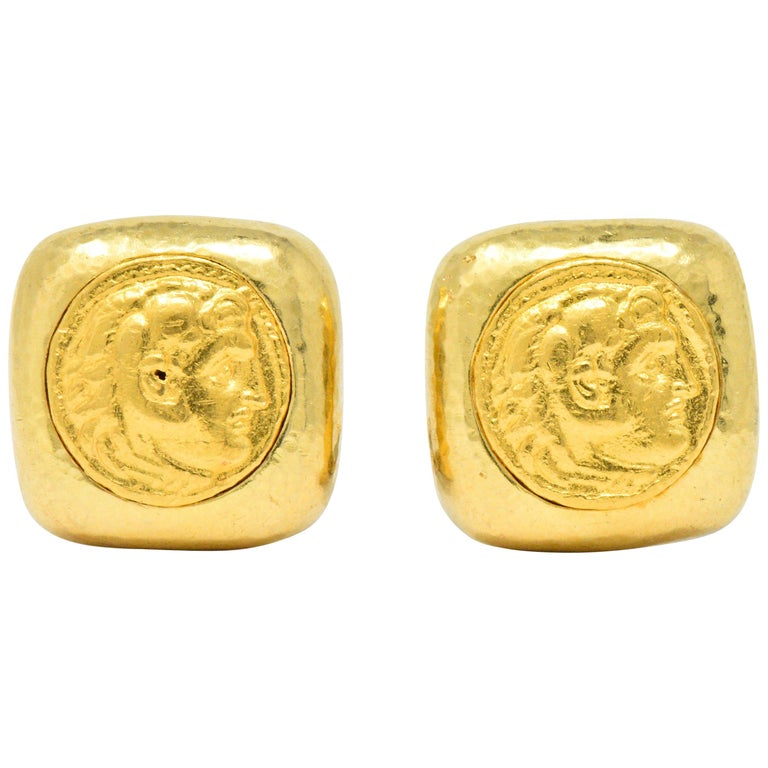 David Webb Ancient Coin 18 Karat Gold Ear-Clips Earrings For Sale