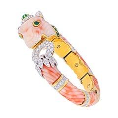David Webb Angel Skin Coral Chimeral & Diamond Bracelet