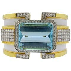 David Webb Aquamarine Diamond Enamel Gold Platinum Bracelet